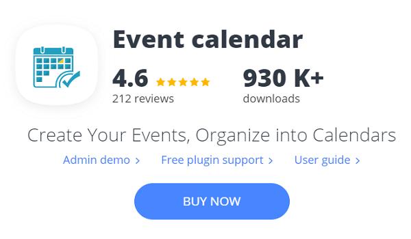 Plugin tạo sự kiện WordPress này nhận được nhiều đánh giá tốt từ phía người dùng.