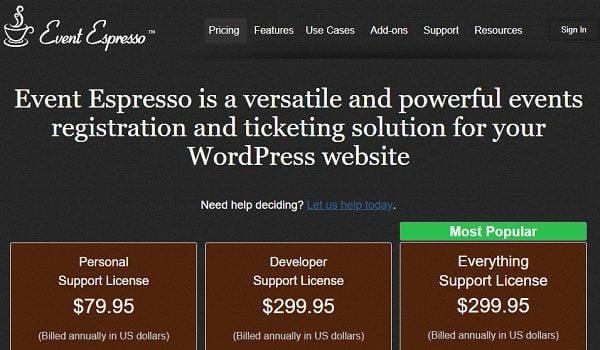 Event Espresso 4 Decaf hỗ trợ tốt hơn cho các tính năng bán vé và đăng ký sự kiện