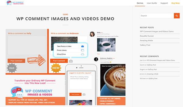 Plugin quản lý Comments này cho phép người dùng lên tải ảnh và Video.