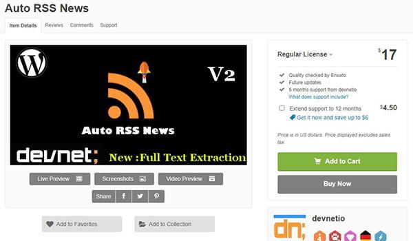 Auto RSS News cho phép nhập tin tức thủ công hoặc tự động bằng công cụ Wp corn.