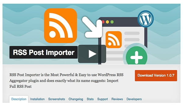 RSS Post Importer có nhiều tính năng vượt trội và hoàn toàn miễn phí.