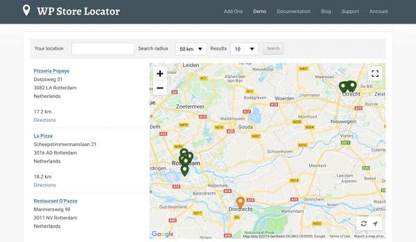 WP Store Locator cung cấp các nhãn tùy chỉnh và các trường để phân loại bản đồ.