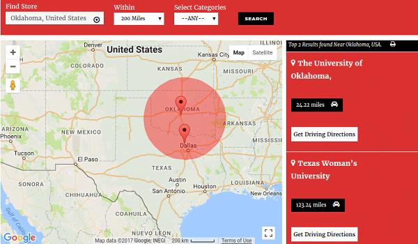 Responsive Store Locator cho phép hiển thị cửa hàng trên trang sản phẩm của bản đồ.
