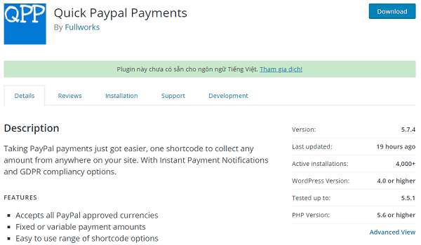 Plugin hỗ trợ thanh toán PayPal này không những tốt mà còn miễn phí.