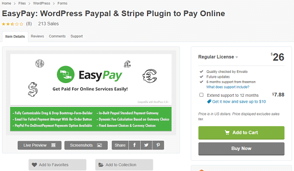 EasyPay hỗ trợ thanh toán nhiều cổng như PayPal và Stripe.