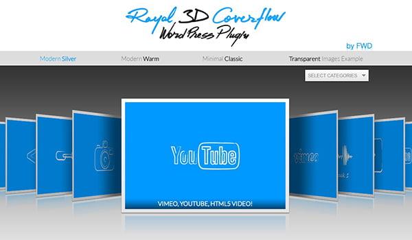 Royal 3D Coverflow giúp hỗ trợ hiển thị nội dung đa phương tiện với bố cục 3D ấn tượng.