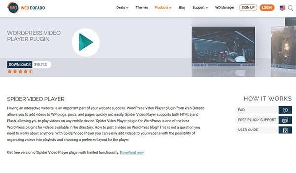 Spider Video Player cho phép thêm nhiều trình phát Video trên một trang.