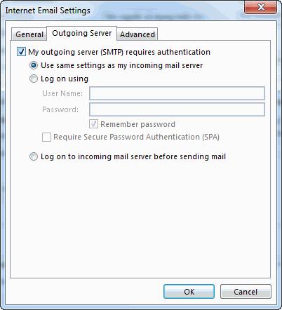cấu hình outgoing server