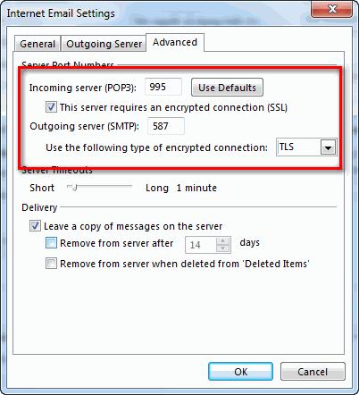cấu hình port cho email