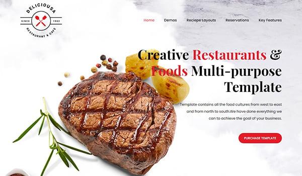 theme wordpress cho website thực phẩm premium food & restaurant html template