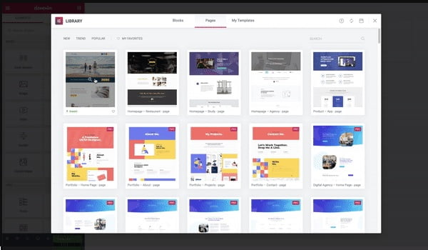 template library của elementor