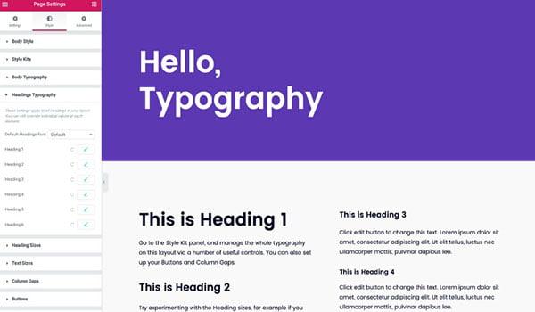 tính năng global font trong editor elementor