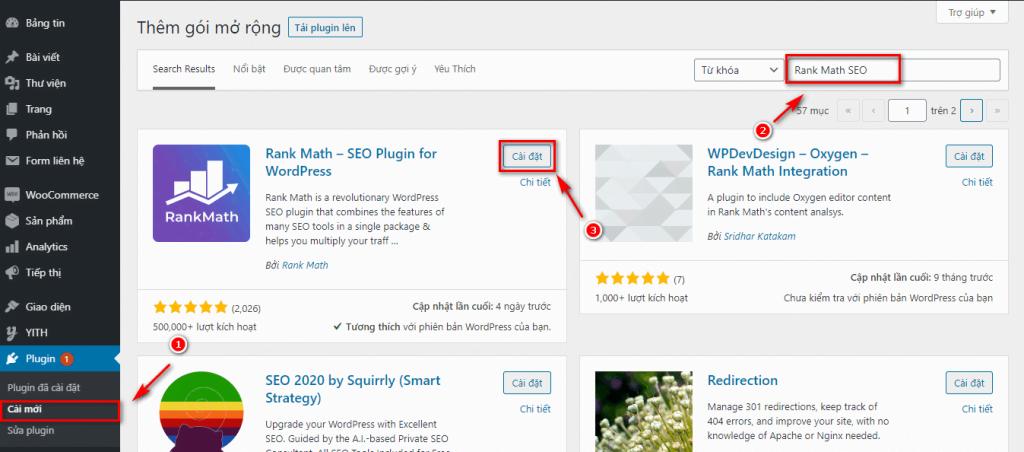 Tìm kiếm và cài đặt plugin Rank Math SEO trên kho plugin của WordPress