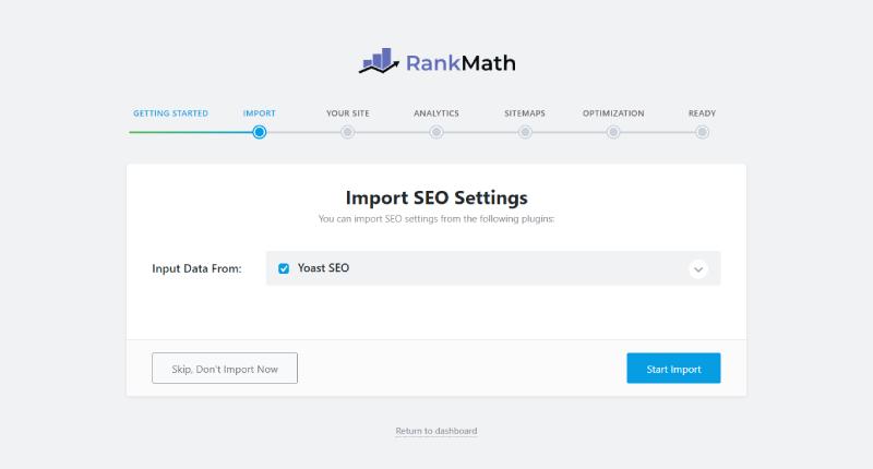 Import các thiết lập từ các plugin SEO cũ sang Rank Math SEO