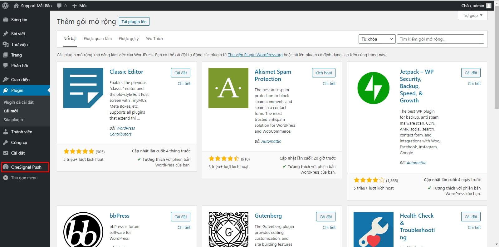 04 - Hướng dẫn cài đặt thông báo đẩy OneSignal cho WordPress từ A tới Z - Trung tâm hỗ trợ kỹ thuật