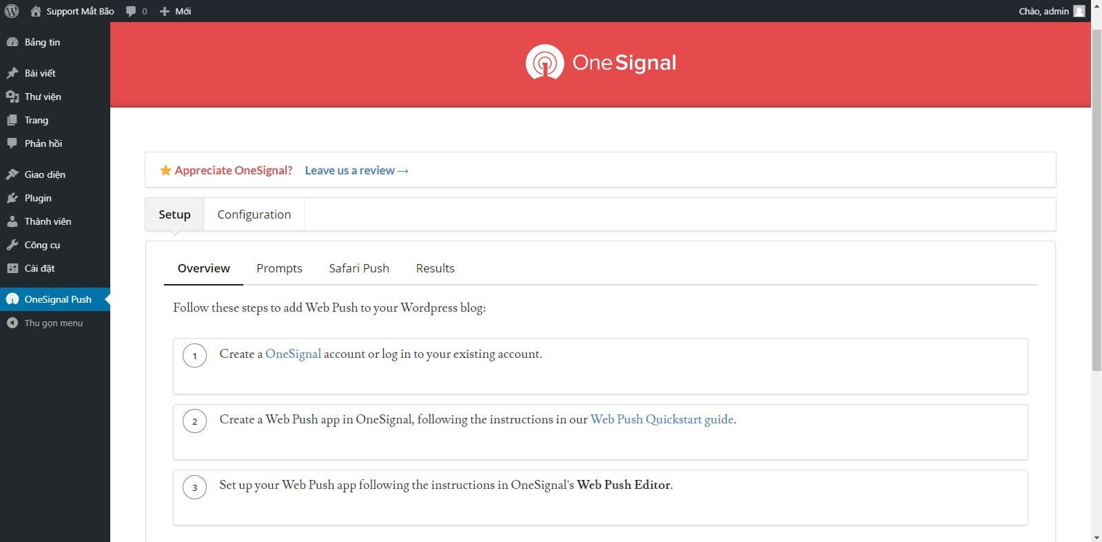 05 - Hướng dẫn cài đặt thông báo đẩy OneSignal cho WordPress từ A tới Z - Trung tâm hỗ trợ kỹ thuật