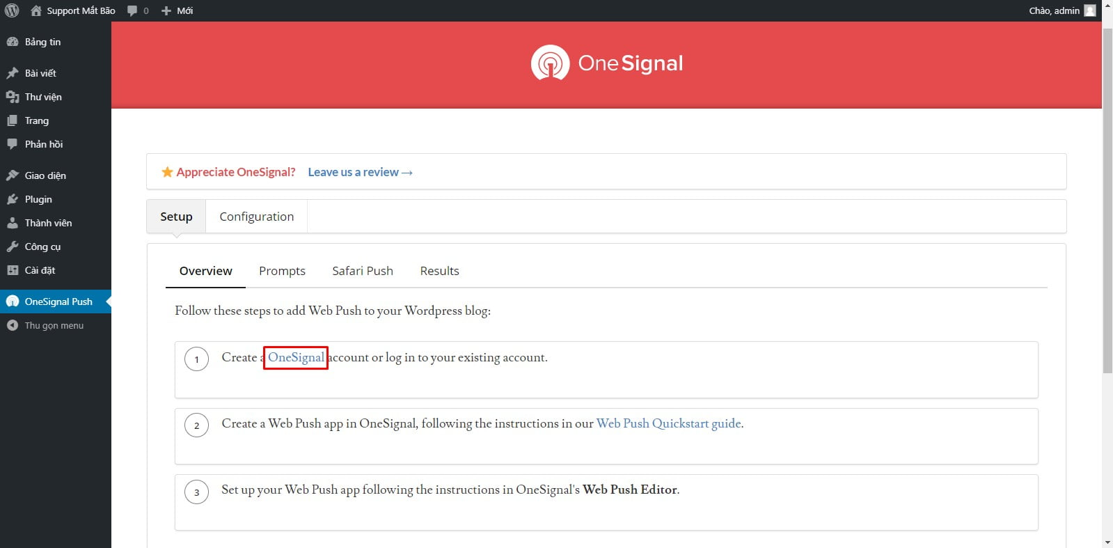 07 - Hướng dẫn cài đặt thông báo đẩy OneSignal cho WordPress từ A tới Z - Trung tâm hỗ trợ kỹ thuật