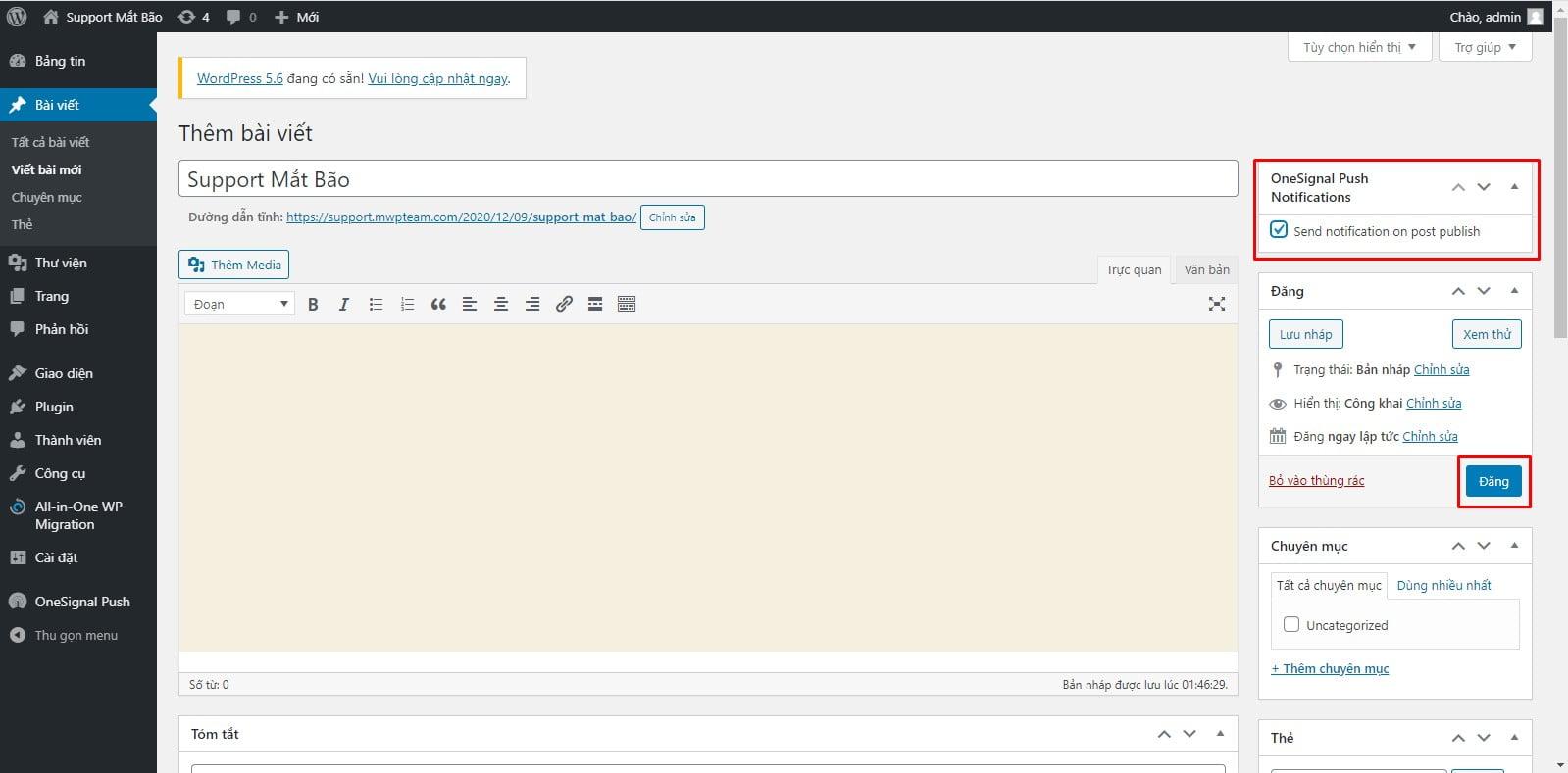 28 - Hướng dẫn cài đặt thông báo đẩy OneSignal cho WordPress từ A tới Z - Trung tâm hỗ trợ kỹ thuật