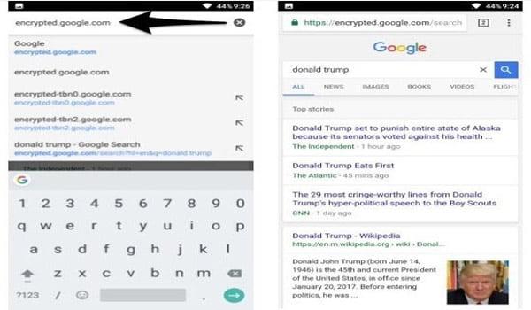 vô hiệu hóa Google AMP trong tìm kiếm Google trên Android và iPhone bằng cách sử dụng google tìm kiếm được mã hóa