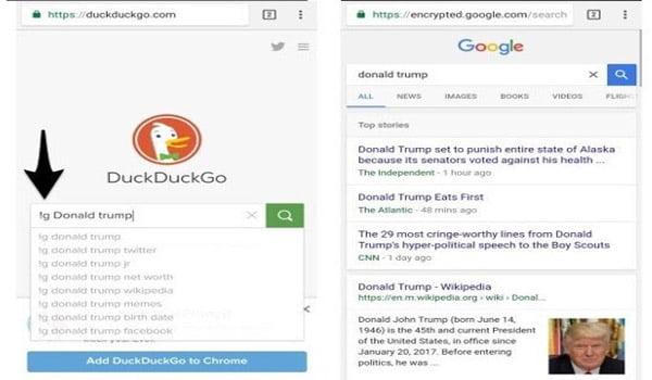 Sử dụng tính năng Bang của DuckDuckGo