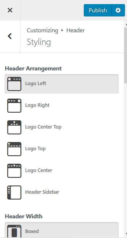 tùy chỉnh header trong elementor