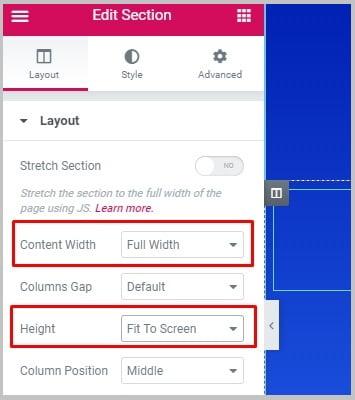 Popups: Full Screen trong elementor