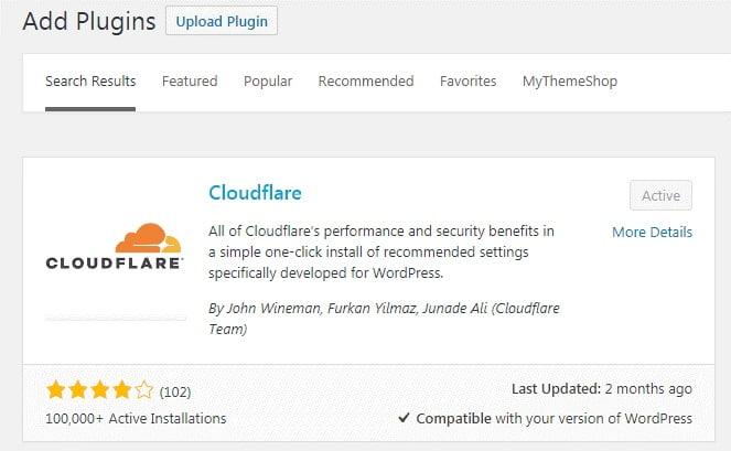 cài đặt plugin cloudflare