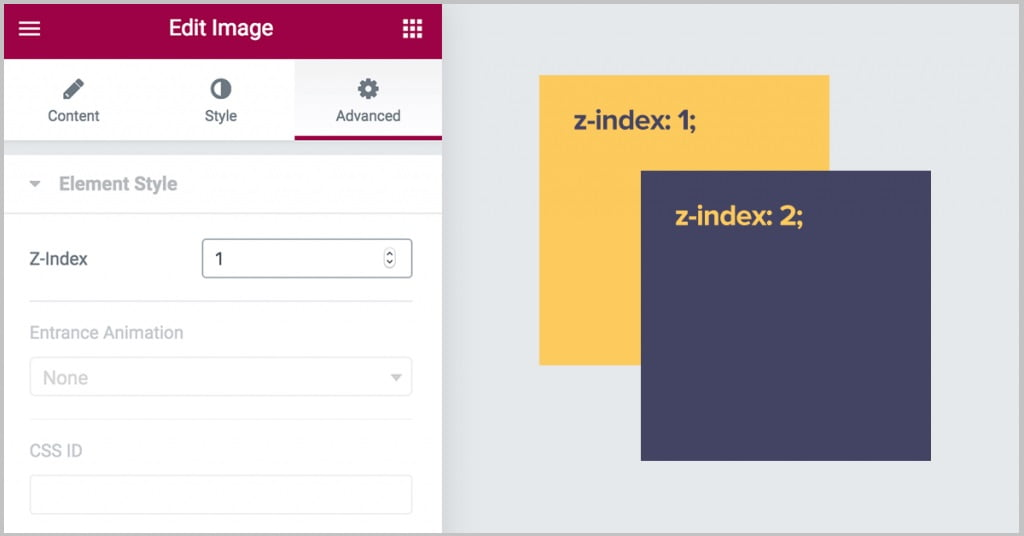 Cách sử dụng Z-Index trong Elementor