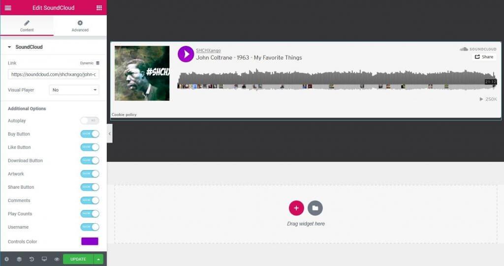 soundcloud widget của elementor