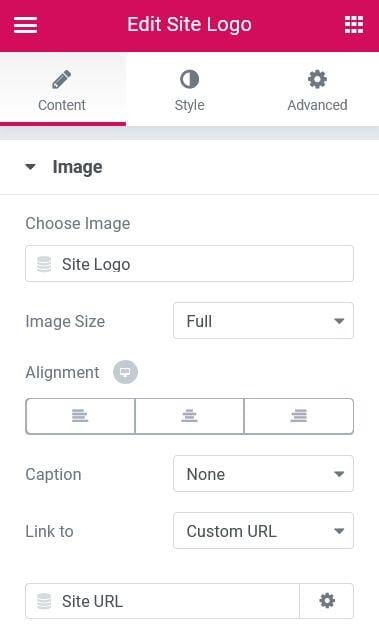 hướng dẫn sử dụng site logo widget của elementor