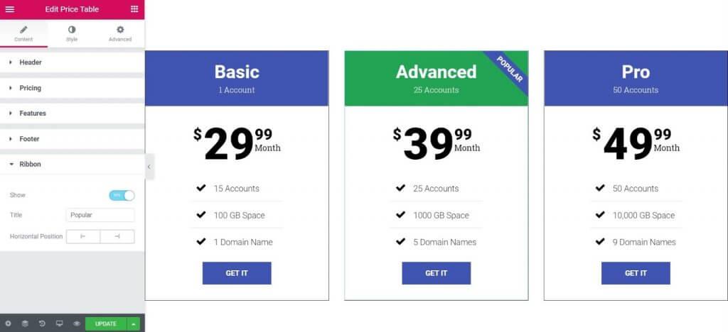 hướng dẫn sử dụng widget nâng cao Price table của elementor