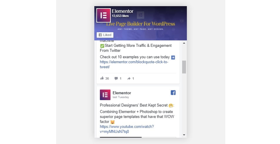 facebook page feed widget của elementor