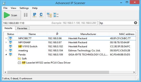 Tìm địa chỉ IP của máy tính khác bằng Advanced IP Scanner