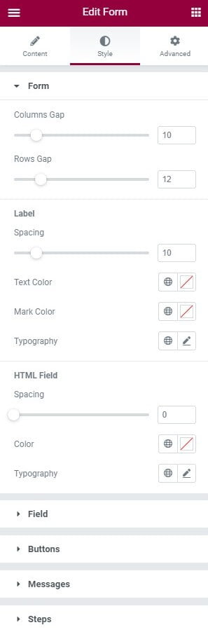 cấu hình Style trong elementor khi tạo biểu mẫu