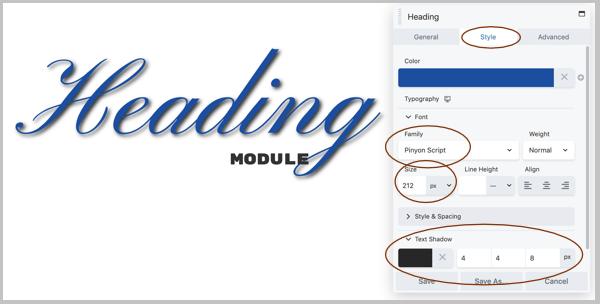 module tùy chỉnh heading của beaver builder