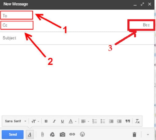 Người dùng thêm tiêu đề Email, địa chỉ người nhận chính và nội dung cần gửi