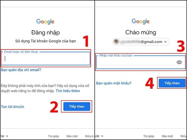Thực hiện các bước để đăng nhập vào tài khoản Gmail