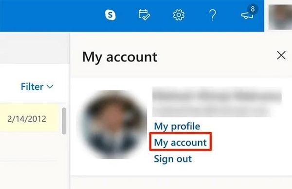 Nhấp vào biểu tượng Profile ở góc trên bên phải và chọn tùy chọn My Account