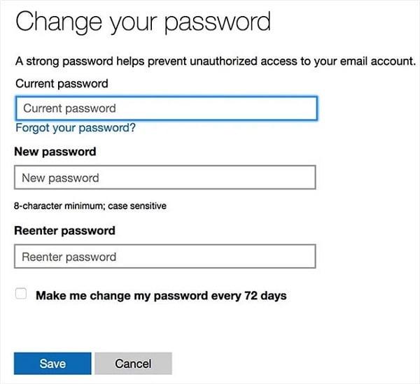 Thay đổi mật khẩu Outlook tại đây