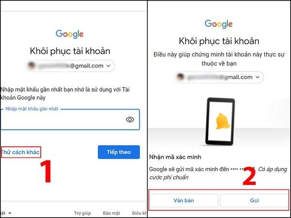 Gmail sẽ gửi mã để xác minh đây có phải tài khoản Email của bạn không?