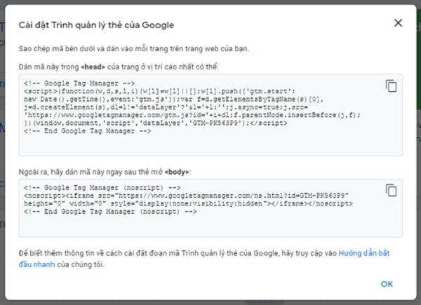 Mã cài đặt Google Tag để dán vào website