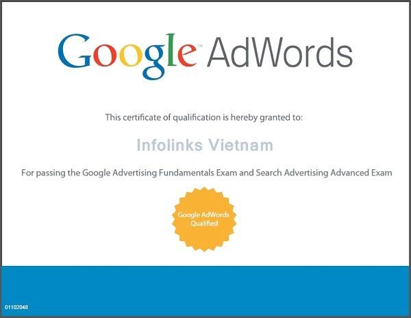 Bằng chứng chỉ Google Adwords
