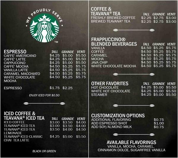 Menu của cà phê Starbucks.